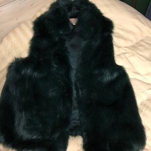 eUC faux fur vest 1X plus lk new dark green